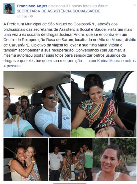Publicação em rede social destacando a visita dos secretários.
