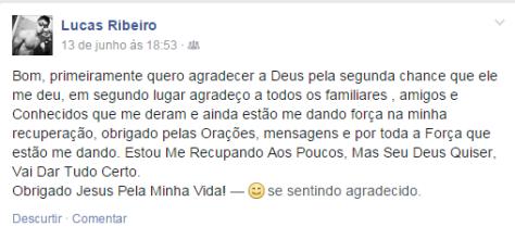 Mensagem de Lucas Ribeiro as centenas de mensagens enviadas a ele.