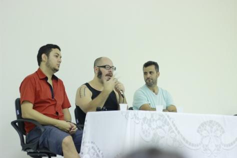 Debate com os idealizadores com Kennel Rógis, Rodrigo Aragão e Adirley Queirós (da esquerda para direita)