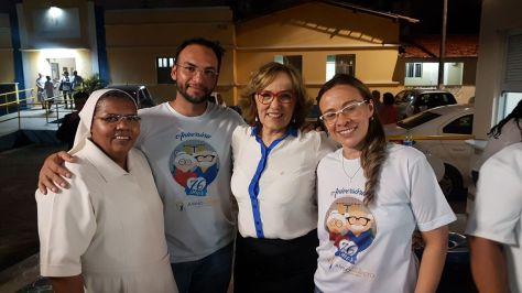 Irmã Rita (diretora), Rogério, Zenaide Maia e Rosineide no Juvino Barreto