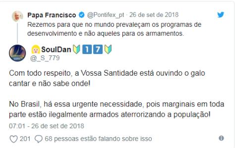 comentário Papa Francisco